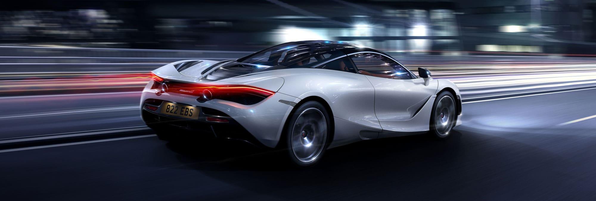 mclaren-720s-white-for-sale-rear-3quarter-road-taillights-blur-hero